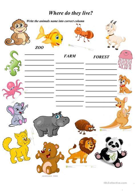 where do animals live worksheet free esl printable