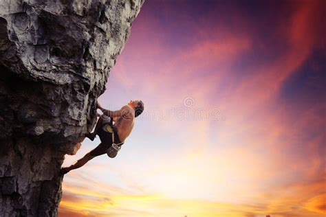 Silhouette Rock Climber Stock Image Height