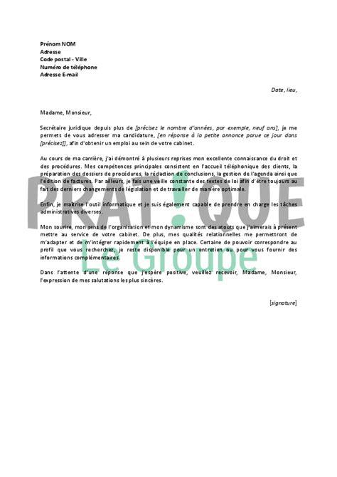 lettre de motivation pour un emploi de secr 233 taire juridique confirm 233 e pratique fr