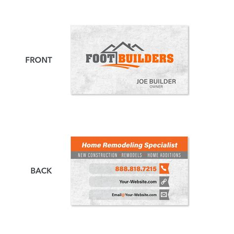 Get inspired by beautiful concrete logo designs. Contractor Business Card - Customized for you. High Quality Print - Footbridge Marketing