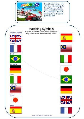 francos matching flags worksheet  francoandformulafun