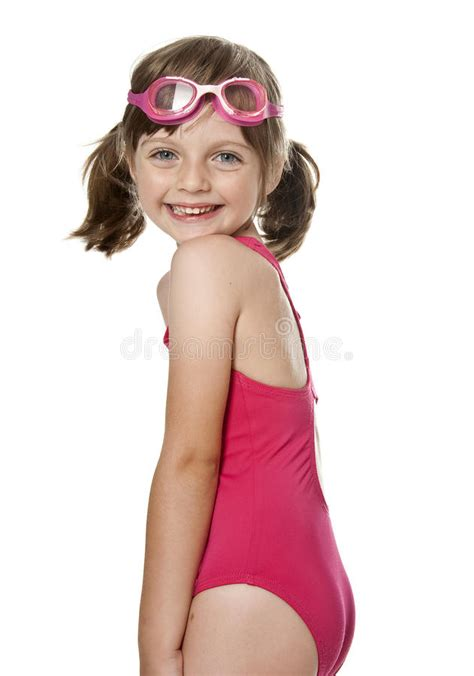 Little Girl Wearing Pink Swimsuit Stock Image  Image Of