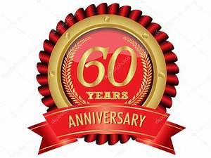 60 years anniversary golden label with ribbons stock for 60 wedding anniversary symbol