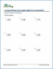 Printable Division Worksheets Grade 4 Math