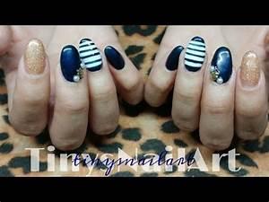 Nautical Themed Acrylic Nails With Gel Polish - YouTube