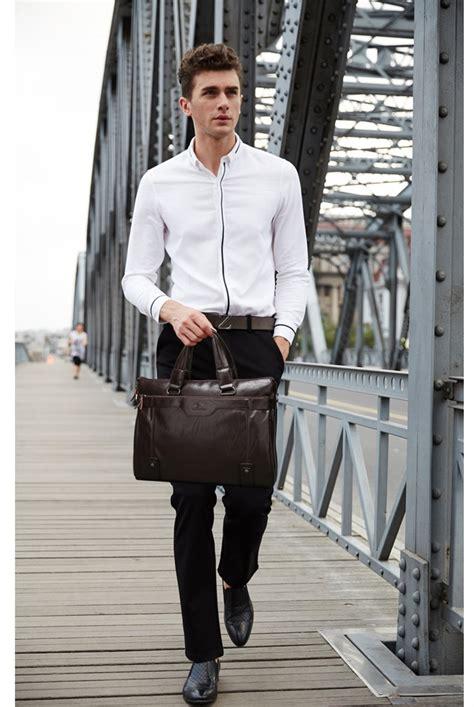 hot kangaroo good quality genuine leather mens shoulder bag messenger business briefcases male