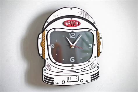 buy astronaut helmet wall clock  woodandroot