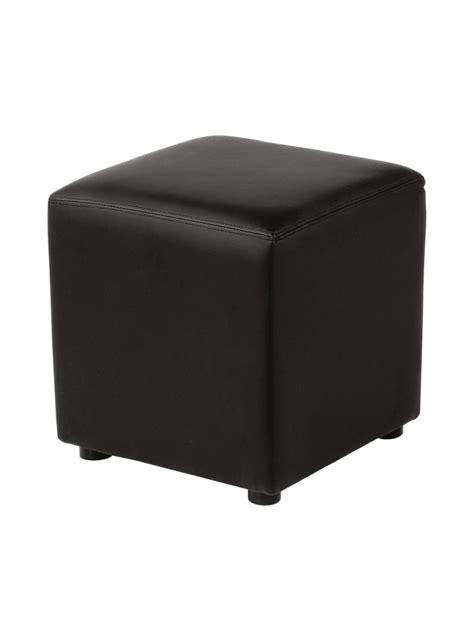 pouf carr 233 lounge en simili cuir 40 x 40 cm