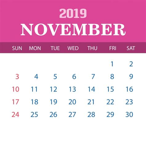 calendar template november annual png vector