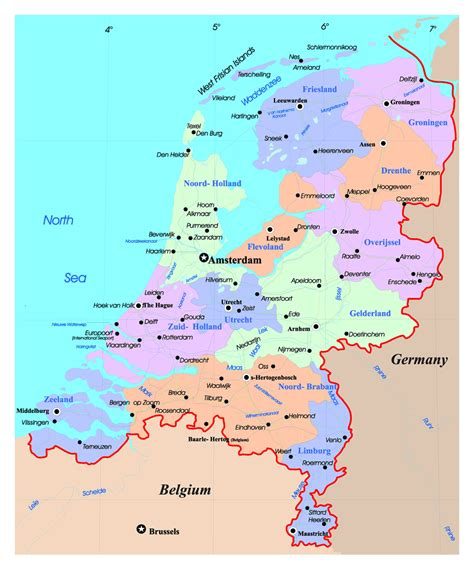 detailed political  administrative map  netherlands