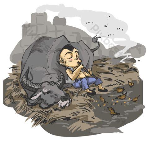 chinese wind  ink resting shepherd boy  buffalo