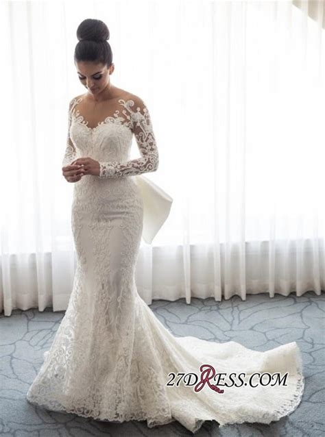 gorgeous long sleeve wedding dress  mermaid lace