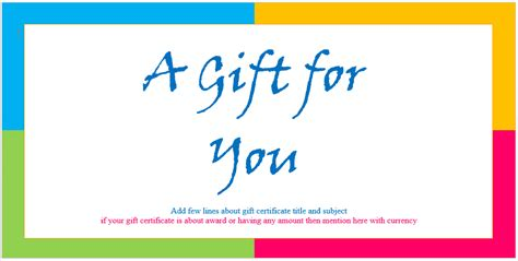 custom gift certificate templates  microsoft word