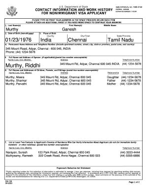ds 160 form for parents filling ds 158 fill online printable fillable blank