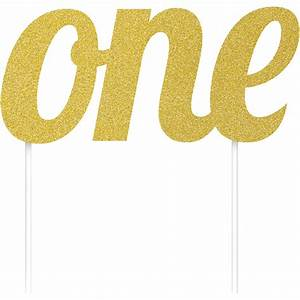 6quot Gold Glitter Number 39ONE39 Birthday Party Decoration