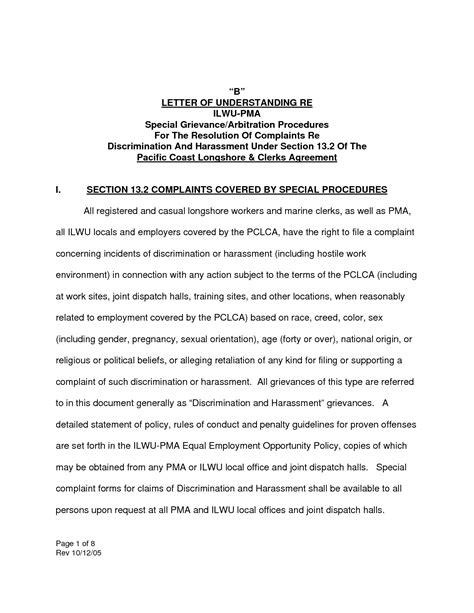Hostile Work Environment Complaint Letter Template Samples