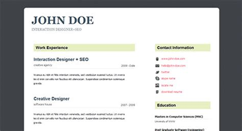 Html5 Resume Website by 50 High Quality Free Html5 And Css3 Website Templates Of 2012