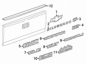 Chevrolet Silverado 1500 Tailgate Molding  Upper  Lower