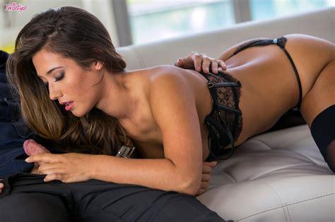 Eva Lovia in black stockings making love with handsome man ...