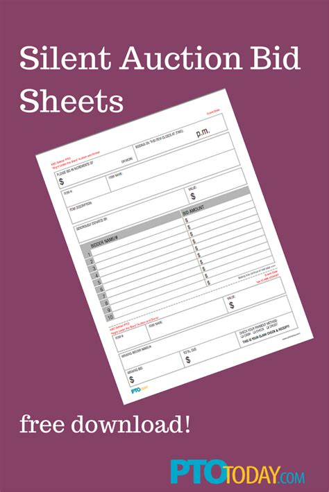 bid free our free bid sheets for your upcoming auction