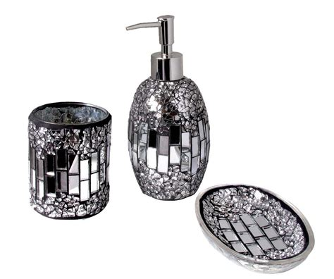 glitter bathroom accessories silver black sparkle