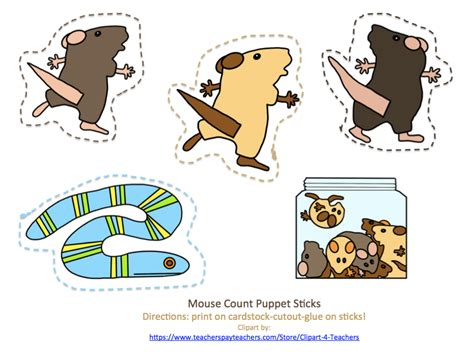 free mouse counts puppet sticks preschool printables 804 | 20