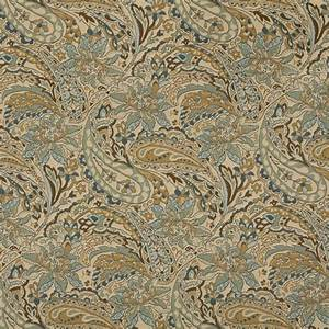 Tan Beige Brown And Teal Paisley Woven Outdoor