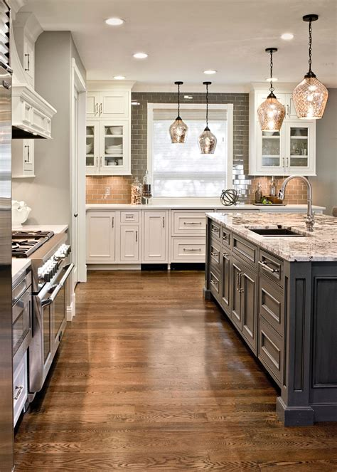 gray kitchen floors with oak cabinets gray island and white cabinets granite top white oak