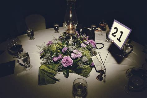 Chic Fall Wedding Centerpieces With Purple And Green