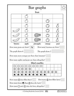 st grade  grade math worksheets fruit bar graph