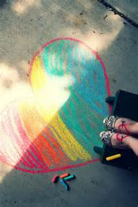 Sidewalk Chalk Hearts On