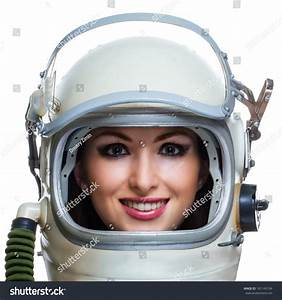 Young Smiling Woman Wearing Space Suit Stock Photo ...