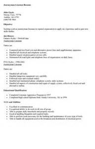 Lineman Resume Template Journeyman Resume Sle Resumes Design