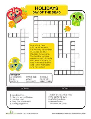 day of the dead crossword worksheet education