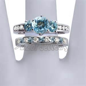 blue topaz wedding ring set anzor jewelry 14k solid white gold blue topaz and engagement ring set