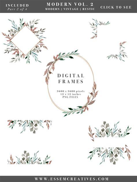 Watercolor Leaves Wreaths Clipart, DIY Watercolor Wedding Invitations