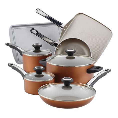 farberware high performance nonstick aluminum cookware set  piece copper