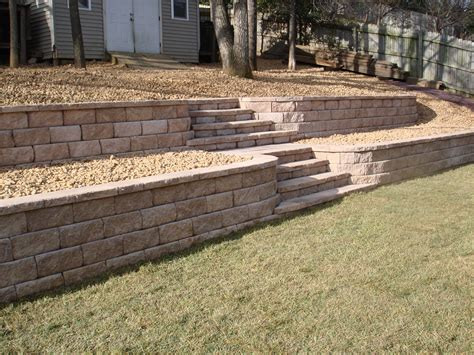 Garden Retaining Wall by Tiered Garden Wall With Stairs Plans For The Backyard