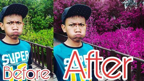 edit foto mengubah warna daun menjadi ungu ala
