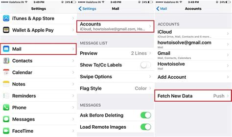 settings for iphone change iphone mail app fetch time for new mail data