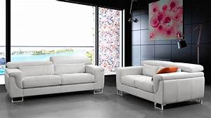 Canape design cuir blanc 3 places canape pas cher for Canapé blanc design cuir