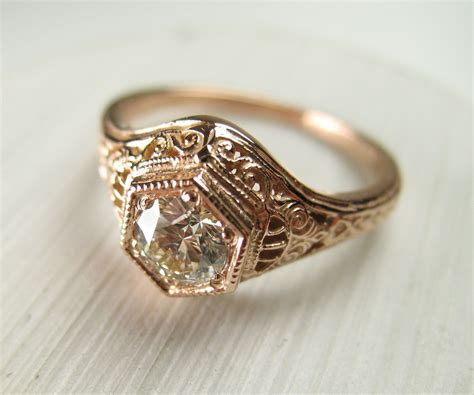 Buy A Hand Crafted Filigree Antique Vintage Engagement Diamond Ring Rose Gold, Made To Order Antique Collectables Auctions Steamer Trunk Parts Mirror Tile Queen Anne Dresser Desk With Hutch Brick Veneer Wood Casters For Antiques Round