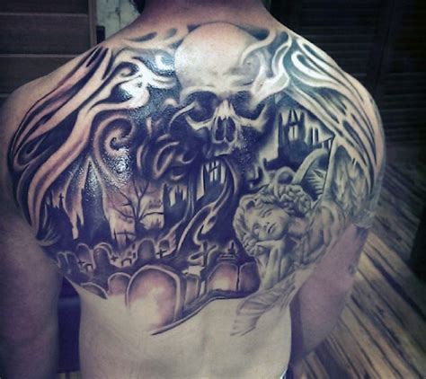 unusual combined black ink dark cemetery  skull tattoo