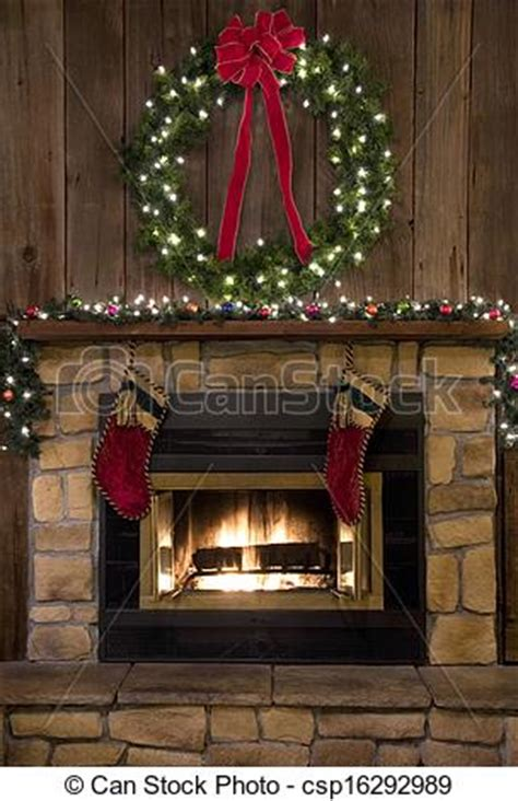 christmas fireplace hearth  wreath  stockings