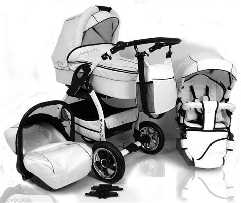 3in1 white maked lucky baby pram 3in1 travel system white supreme