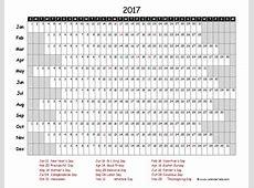 2017 Excel Calendar Project Timeline Free Printable