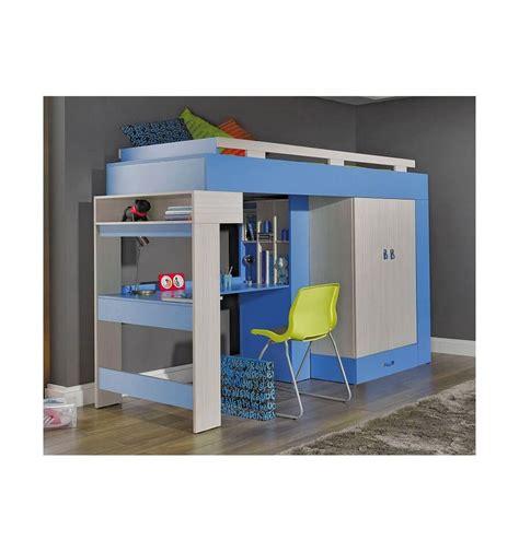 lit superpose bureau lit combiné bureau enfant libellule bleu mobiler d