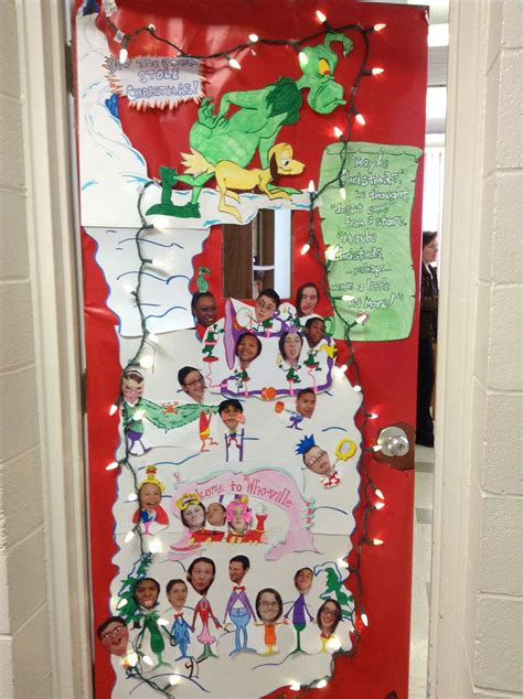 school door christmas decorating ideas the grinch classroom door door decor whoville