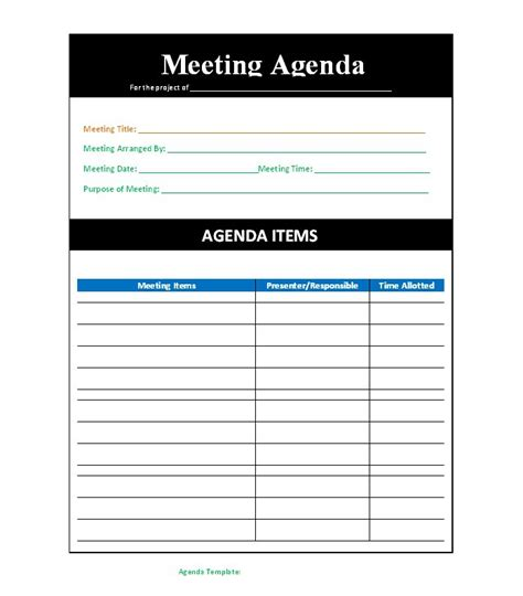 meeting agenda templates word templates