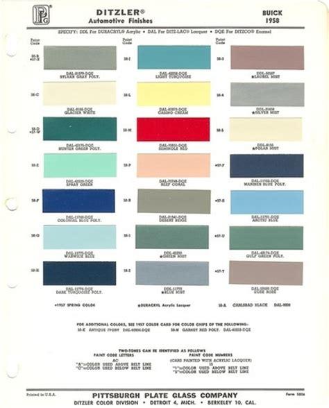 1958 buick auto line paint chips sheet color pinterest